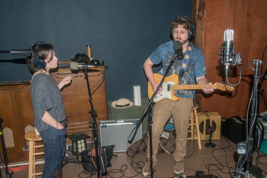 Beth Hataway and Johnny Veres of Electric Blue Yonder lay down tracks at Technical Earth Recordings in Montgomery.