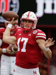 Nebraska quarterback Andrew Bunch (17) throws before an NCAA college football game against Colorado in Lincoln, Neb., Saturday, Sept. 8, 2018. (AP Photo/Nati Harnik)
