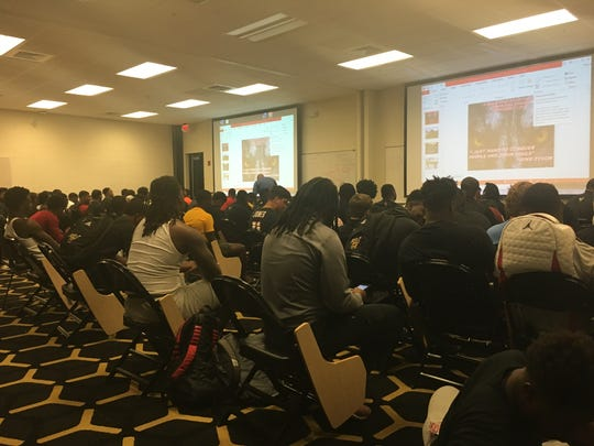 Alabama State players await a message from head coach Donald-Hill Eley.