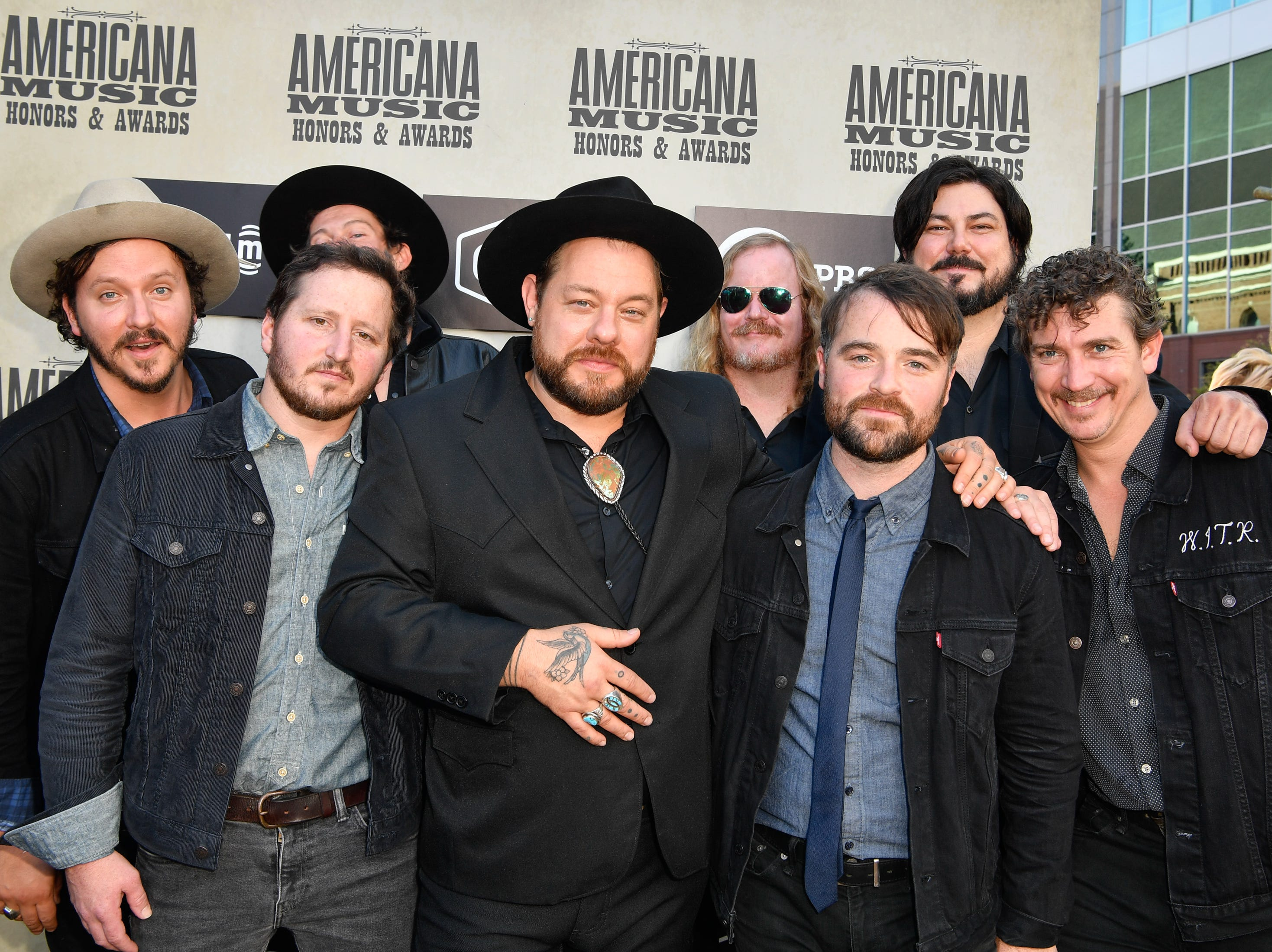 Nathaniel Rateliff and The Night Sweats pose on the red carpet before the 2018 Americana Honors and Awards show at the Ryman Auditorium in Nashville, Tenn., Wednesday, Sept. 12, 2018.