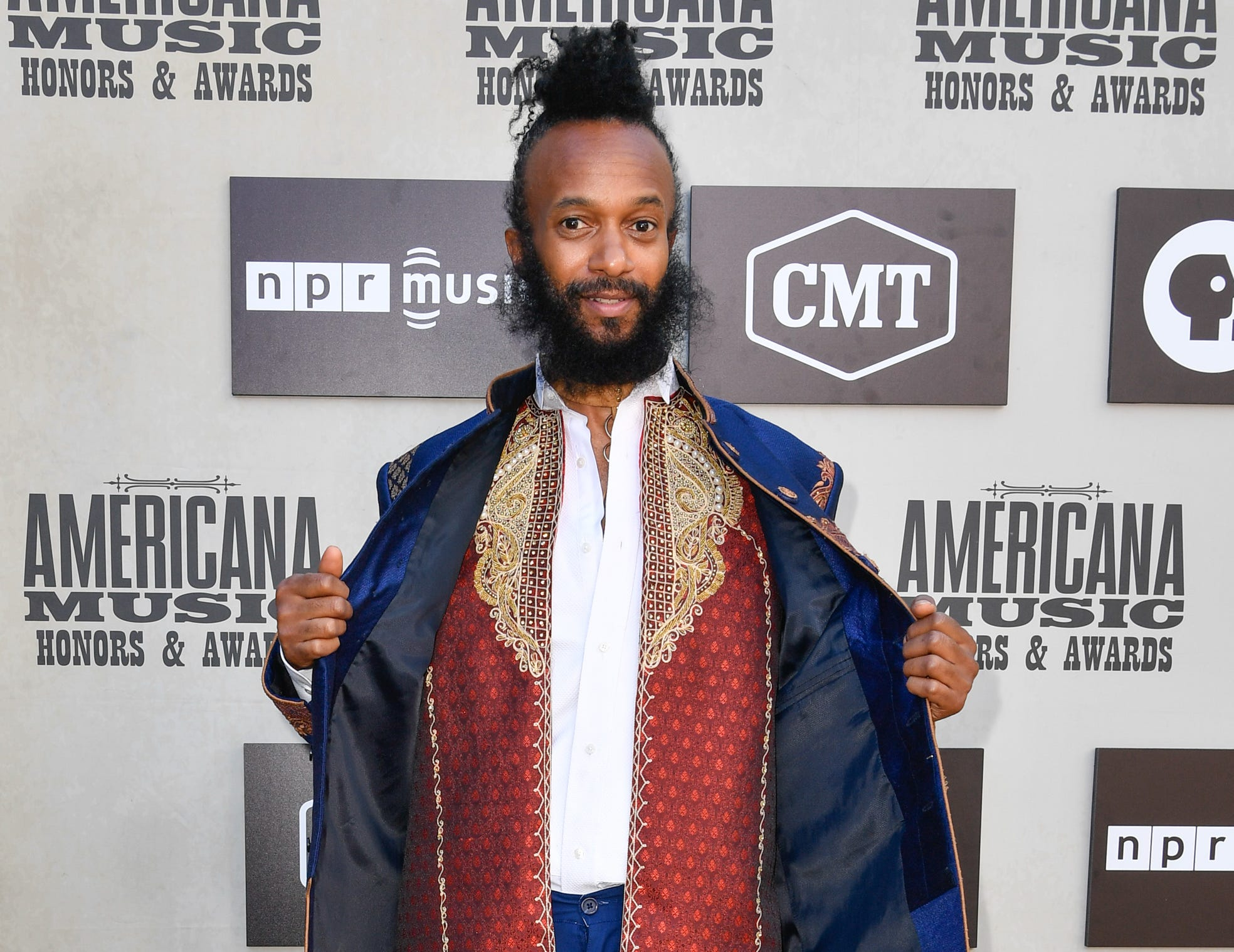Fantastic Negrito poses on the red carpet before the 2018 Americana Honors and Awards show at the Ryman Auditorium in Nashville, Tenn., Wednesday, Sept. 12, 2018.