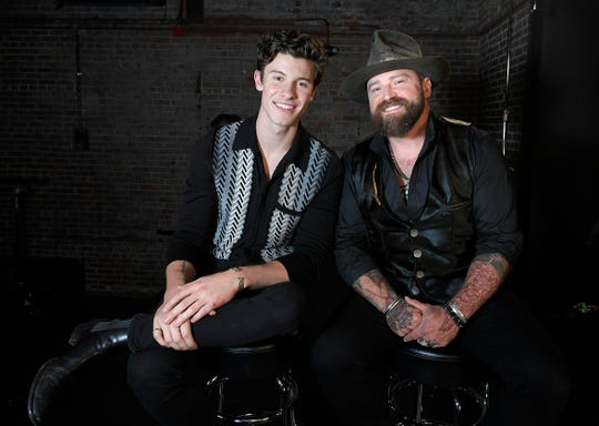 "Shawn Mendes and Zac Brown at CMT ""Crossroads"" concert special in Franklin, Tenn. on Tuesday, Sept 11, 2018."