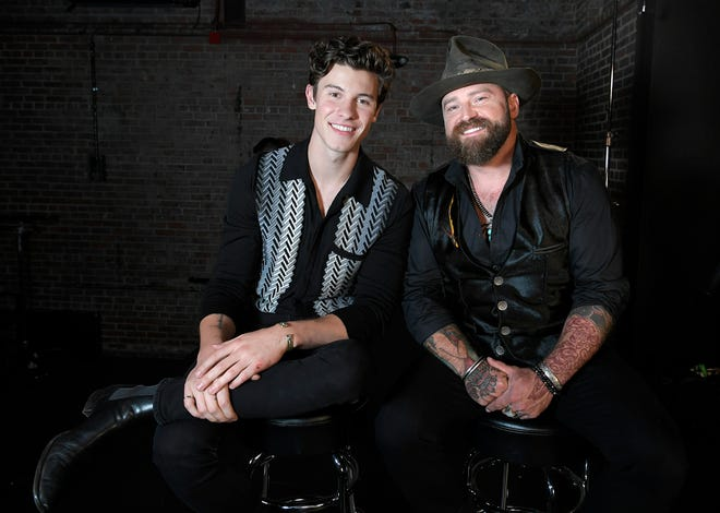 """Shawn Mendes and Zac Brown at their CMT """"Crossroads"""" concert special in Franklin, Tenn. on Tuesday, Sept 11, 2018."""