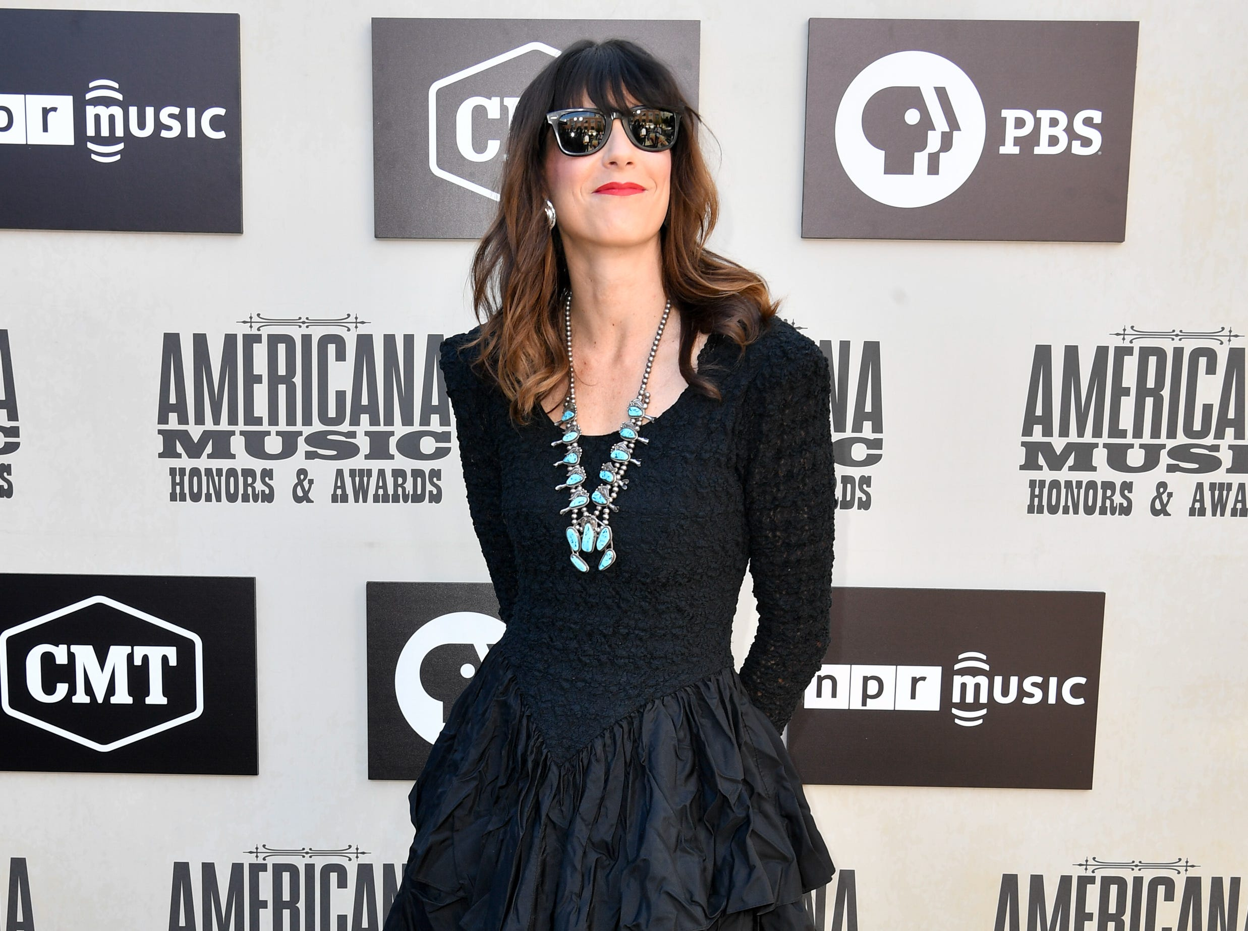 Nicki Bluhm poses on the red carpet before the 2018 Americana Honors and Awards show at the Ryman Auditorium in Nashville, Tenn., Wednesday, Sept. 12, 2018.