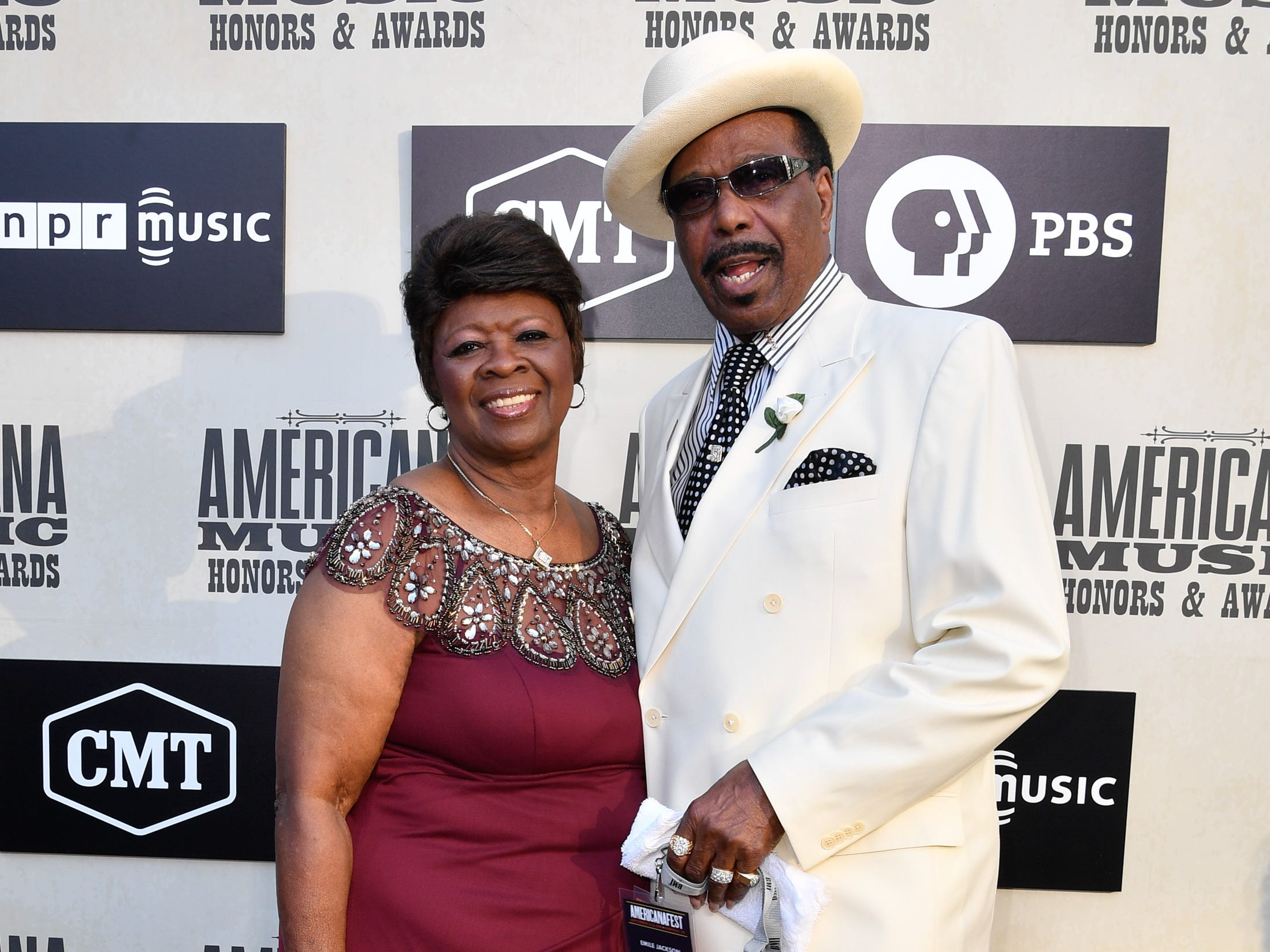 Irma Thomas and Emile Jackson pose on the red carpet before the 2018 Americana Honors and Awards show at the Ryman Auditorium in Nashville, Tenn., Wednesday, Sept. 12, 2018.