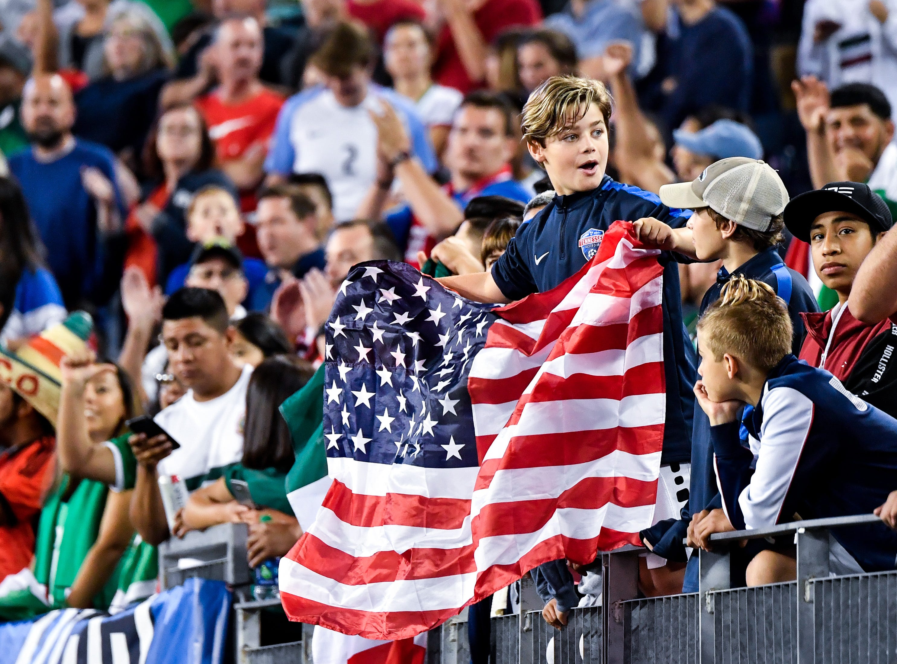 Fans cheer before the game between USA and Mexico at Nissan Stadium in Nashville, Tenn., Tuesday, Sept. 11, 2018.