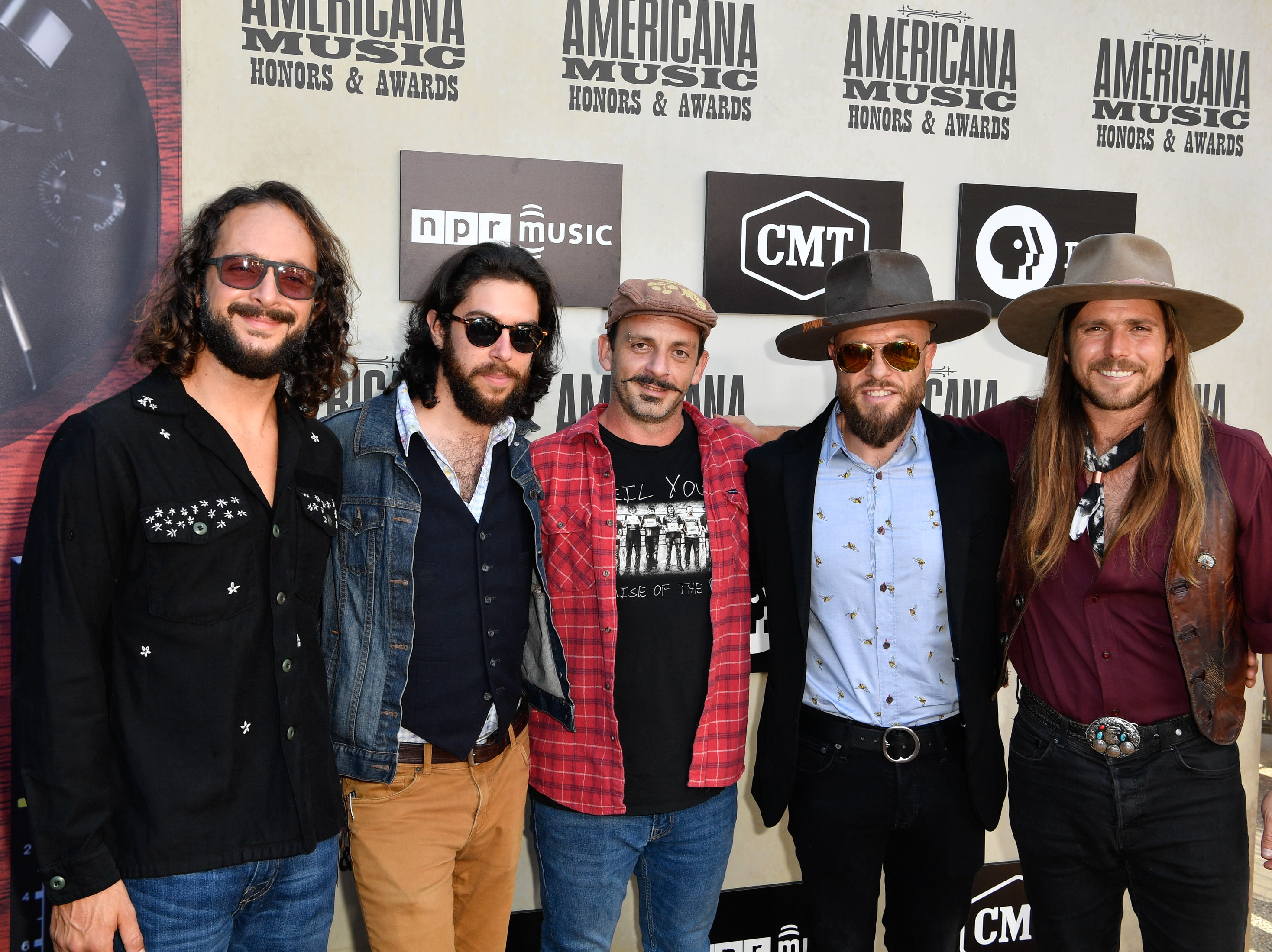 Lukas Nelson and Promise of the Real pose on the red carpet before the 2018 Americana Honors and Awards show at the Ryman Auditorium in Nashville, Tenn., Wednesday, Sept. 12, 2018.