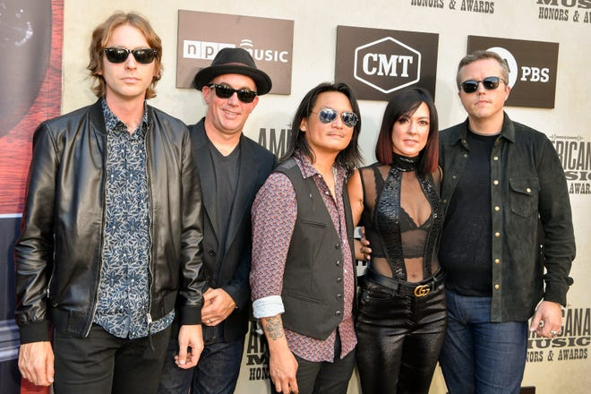 Jason Isbell and the 400 Unit poses on the red carpet before the 2018 Americana Honors and Awards show at the Ryman Auditorium in Nashville, Tenn., Wednesday, Sept. 12, 2018.