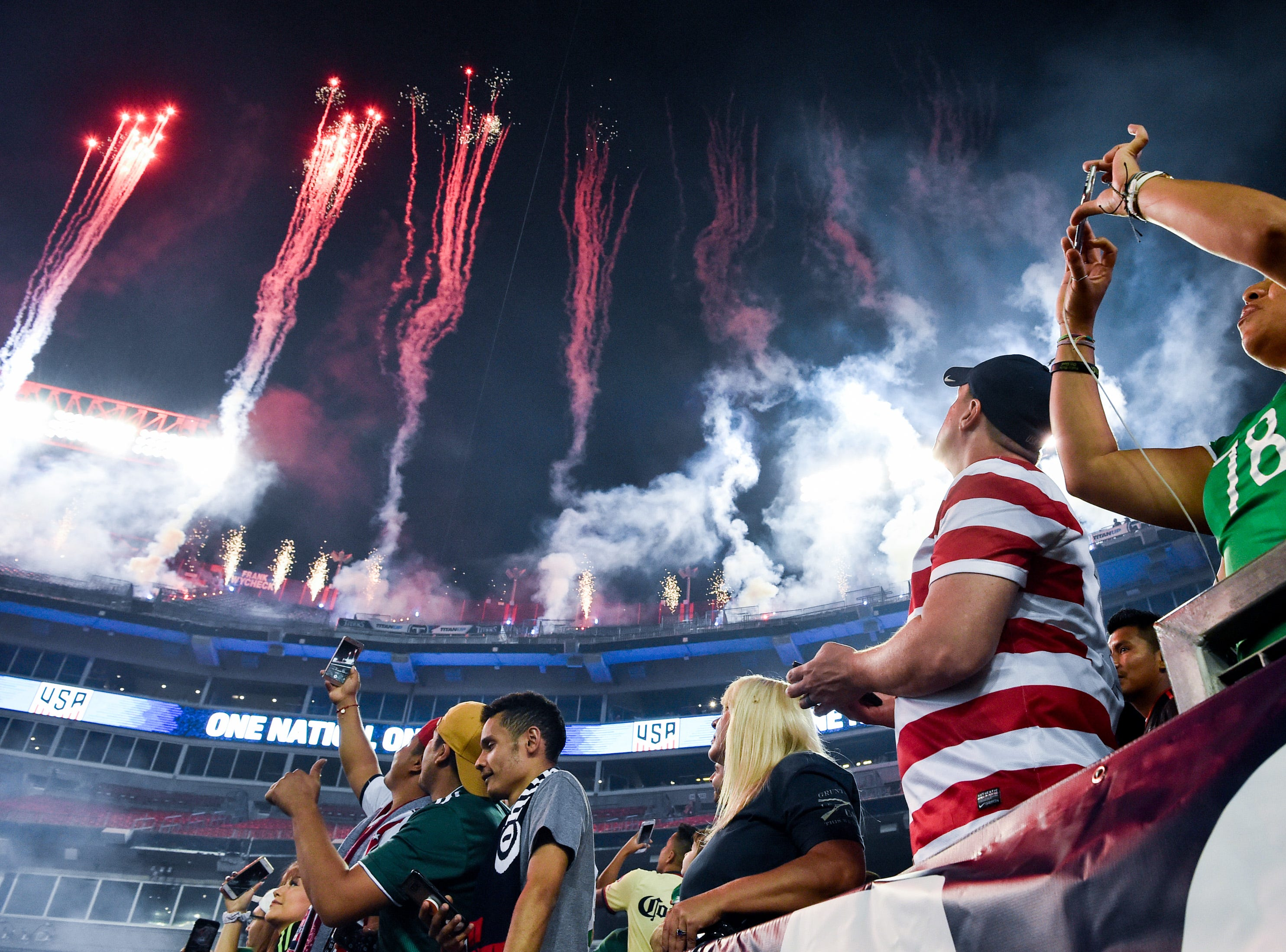 Fireworks light up the sky before the game between USA and Mexico at Nissan Stadium in Nashville, Tenn., Tuesday, Sept. 11, 2018.