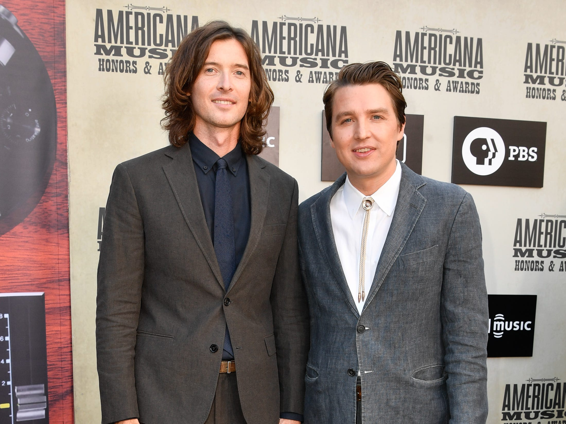 The Milk Carton Kids pose on the red carpet before the 2018 Americana Honors and Awards show at the Ryman Auditorium in Nashville, Tenn., Wednesday, Sept. 12, 2018.