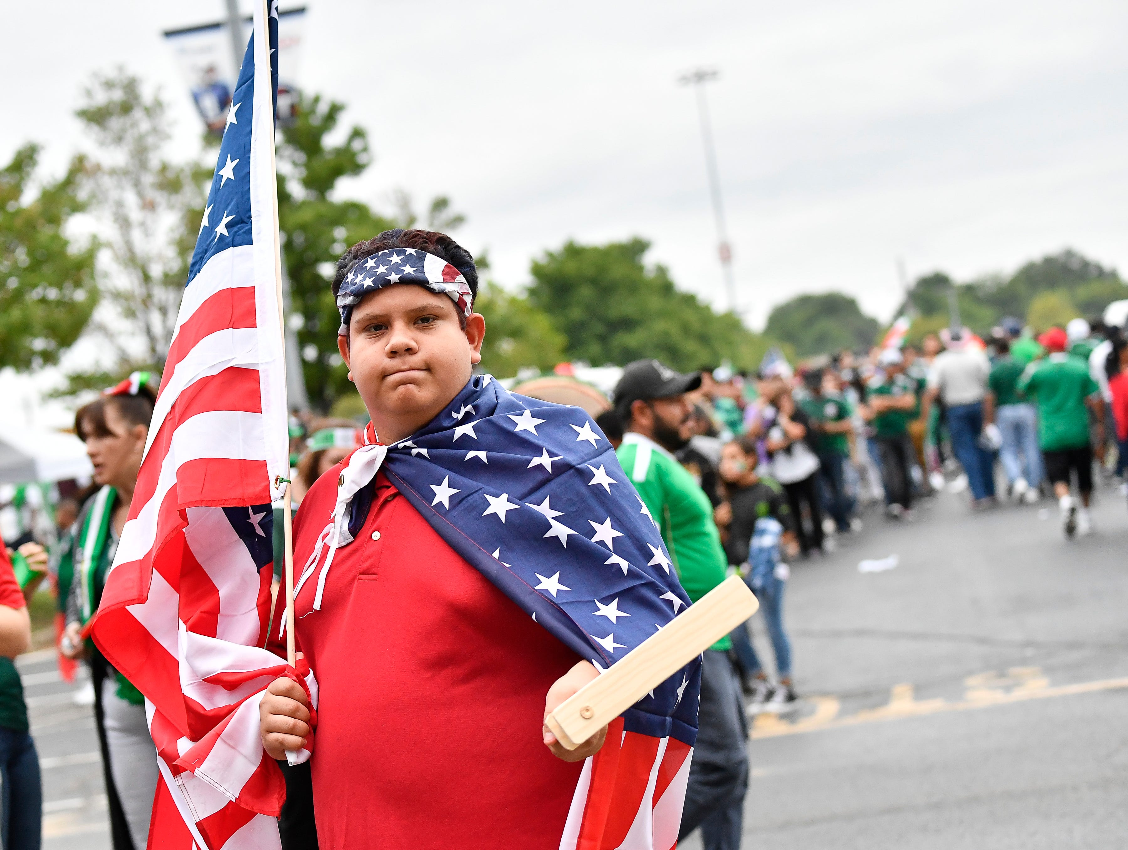 USA soccer fan Caleb Diaz wears the American colors before the USA vs. Mexico soccer match at Nissan Stadium Tuesday, Sept. 11, 2018, in Nashville, Tenn.