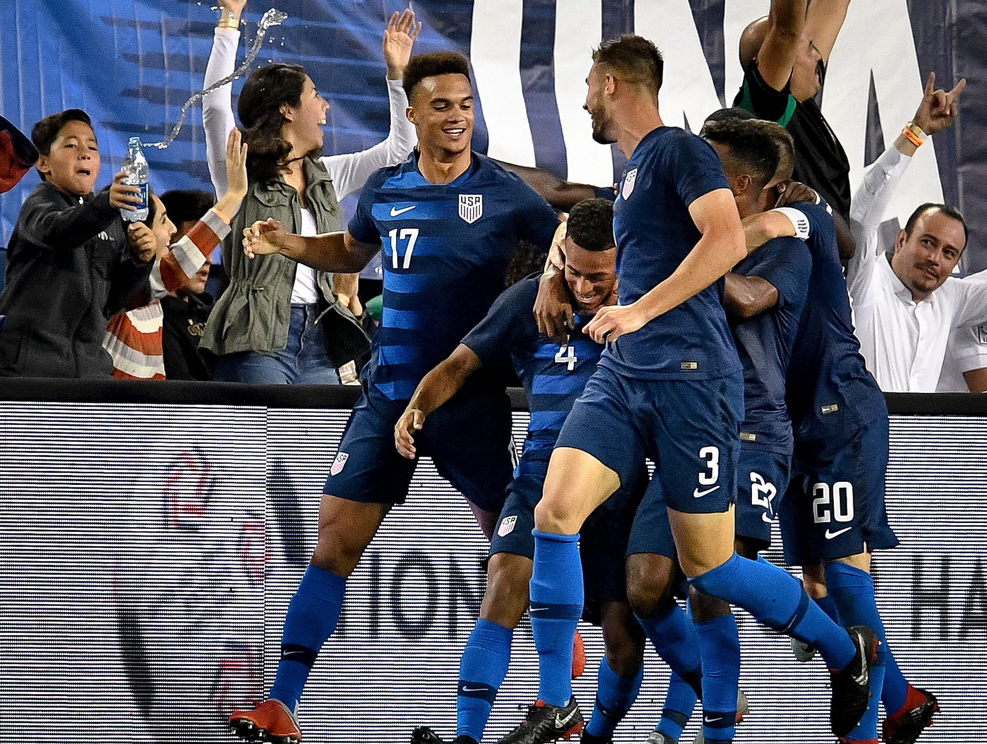 USA midfielder Tyler Adams (4) celebrates scoring against Mexico during the second half at Nissan Stadium in Nashville, Tenn., Tuesday, Sept. 11, 2018.