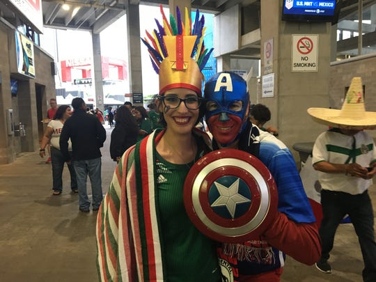 Maria Jacks and Chris Jacks of Jackson, Tennessee pose for a photo before the start of the U.S. Men's National Team's Soccer match against the Mexico National Soccer Team on Sept. 11, 2018.