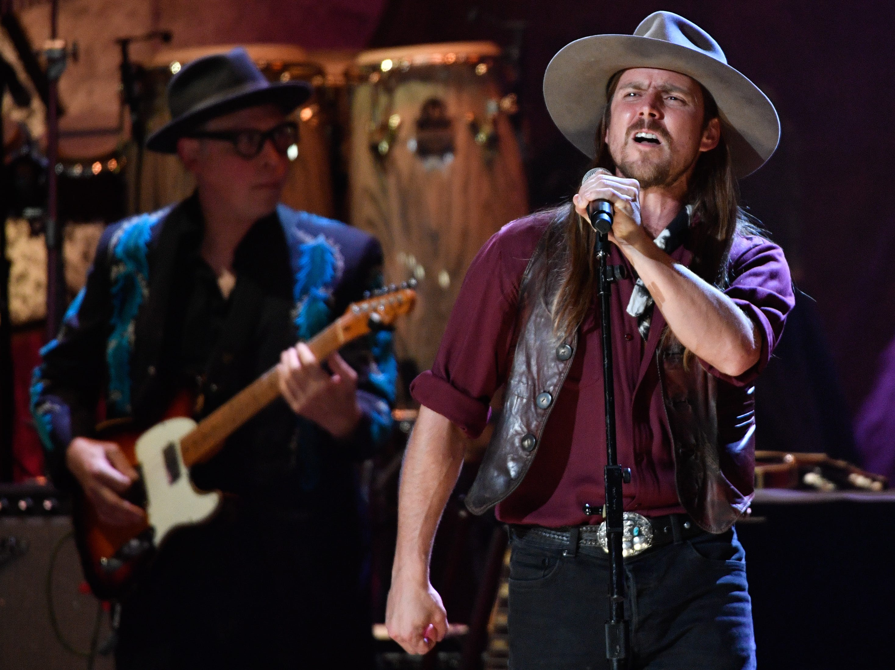 Lukas Nelson performs during the 2018 Americana Honors and Awards show at the Ryman Auditorium in Nashville, Tenn., Wednesday, Sept. 12, 2018.