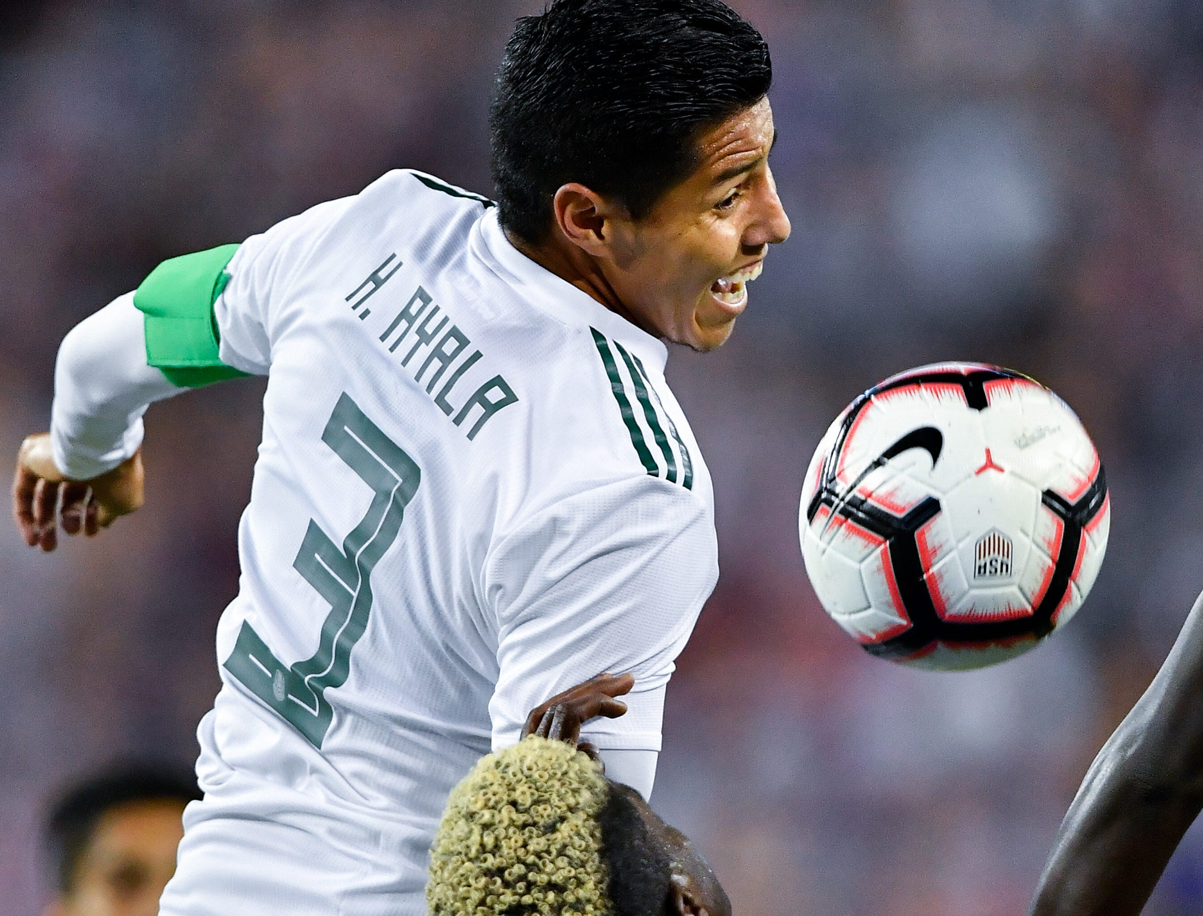Mexico defender Hugo Ayala (3) battles for the ball with USA forward Gyasi Zardes (9) during the first half at Nissan Stadium in Nashville, Tenn., Tuesday, Sept. 11, 2018.