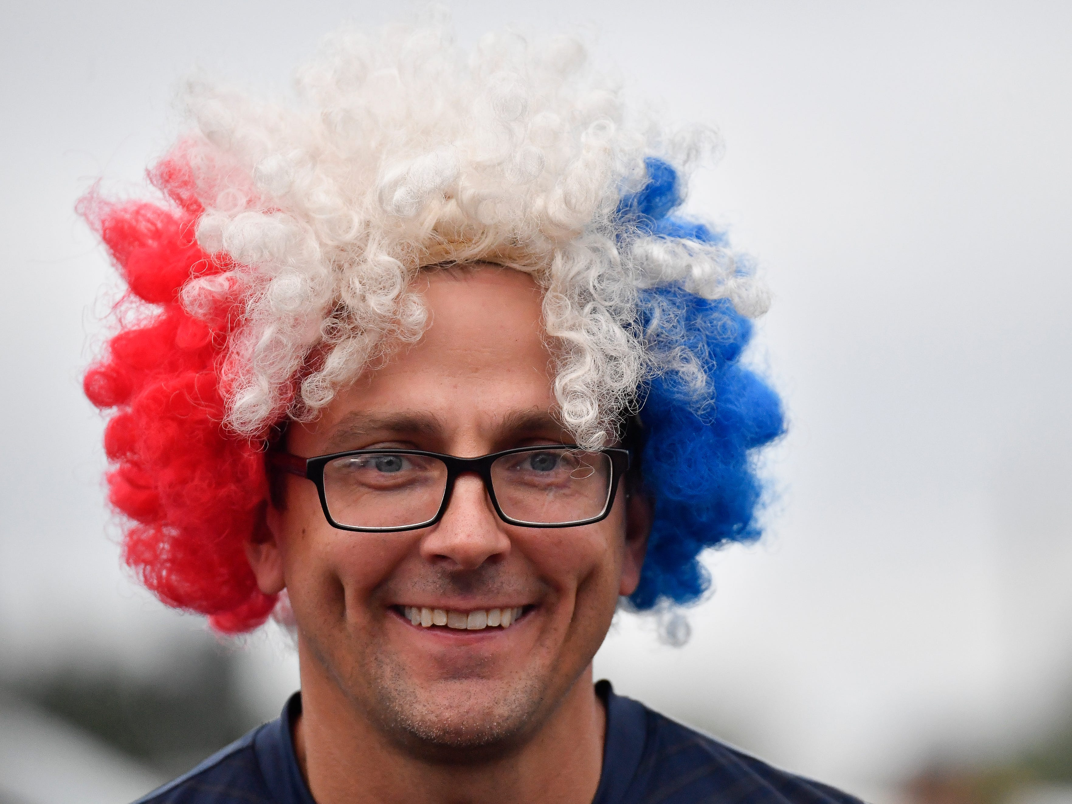 USA Soccer fan Vinnie Magnarini wears his Red White and Blue wig before the USA vs. Mexico soccer match at Nissan Stadium Tuesday, Sept. 11, 2018, in Nashville, Tenn.