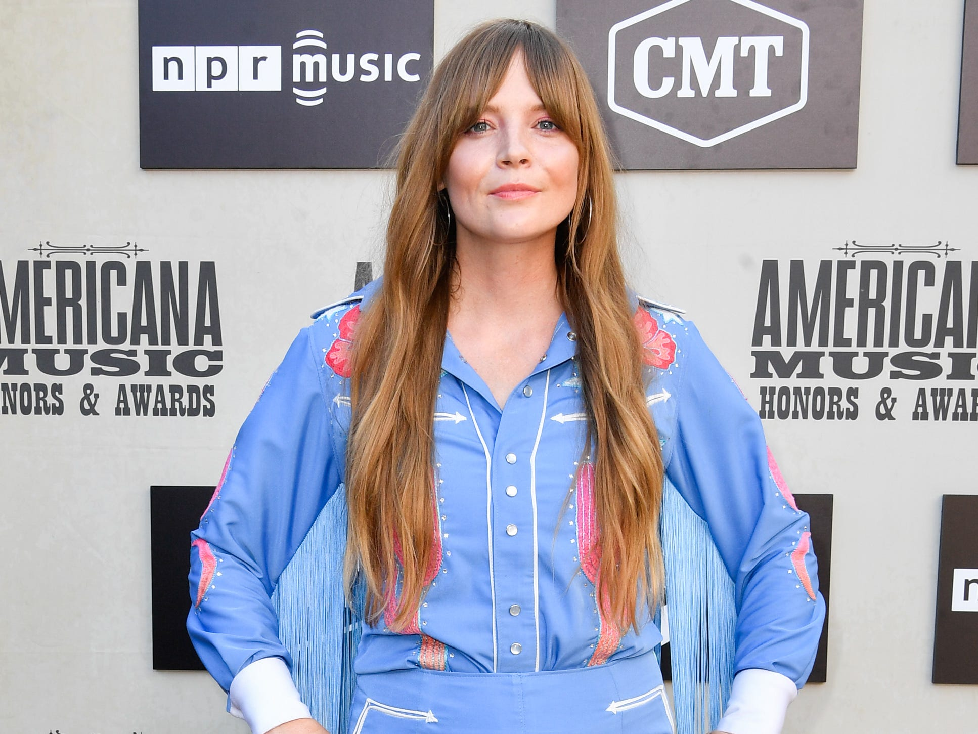Courtney Marie Andrews poses on the red carpet before the 2018 Americana Honors and Awards show at the Ryman Auditorium in Nashville, Tenn., Wednesday, Sept. 12, 2018.