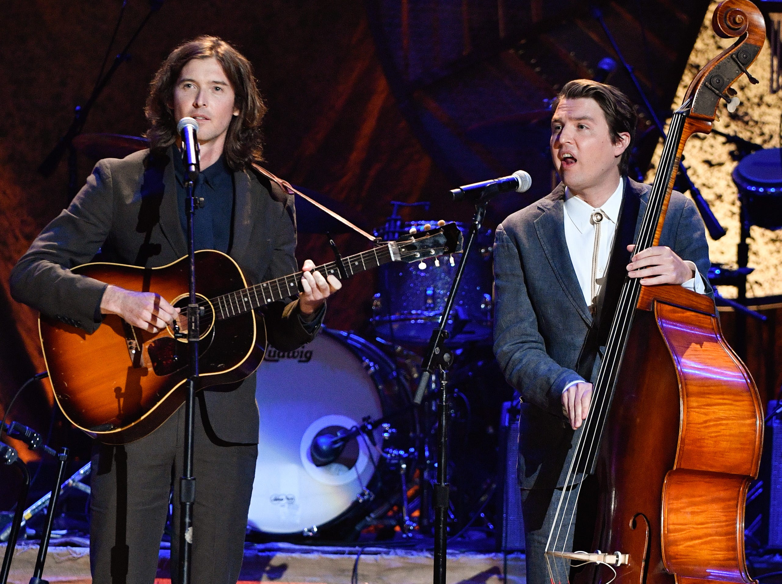 The Milk Carton Kids perform during the 2018 Americana Honors and Awards show at the Ryman Auditorium in Nashville, Tenn., Wednesday, Sept. 12, 2018.