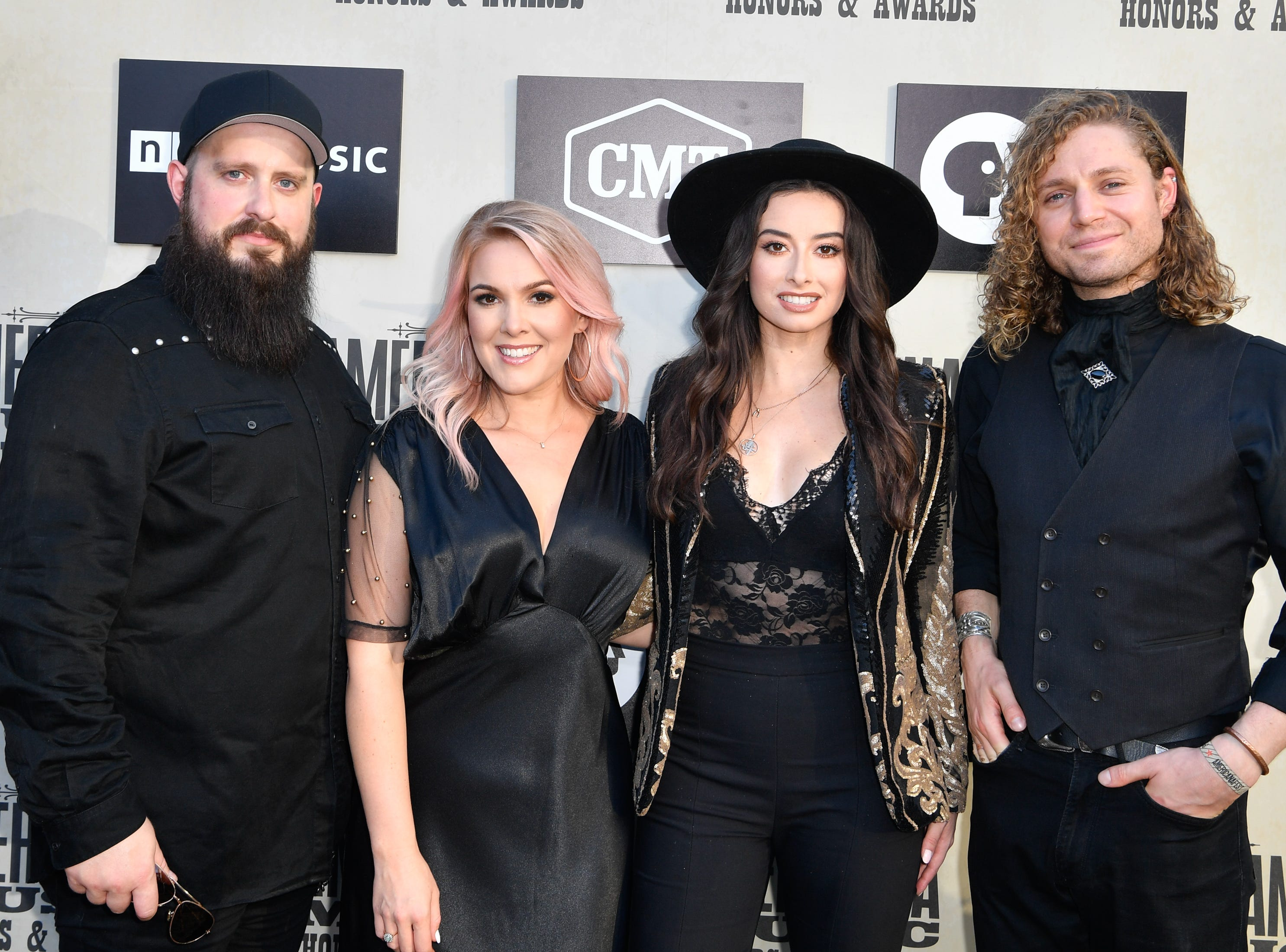 The Wandering Hearts pose on the red carpet before the 2018 Americana Honors and Awards show at the Ryman Auditorium in Nashville, Tenn., Wednesday, Sept. 12, 2018.