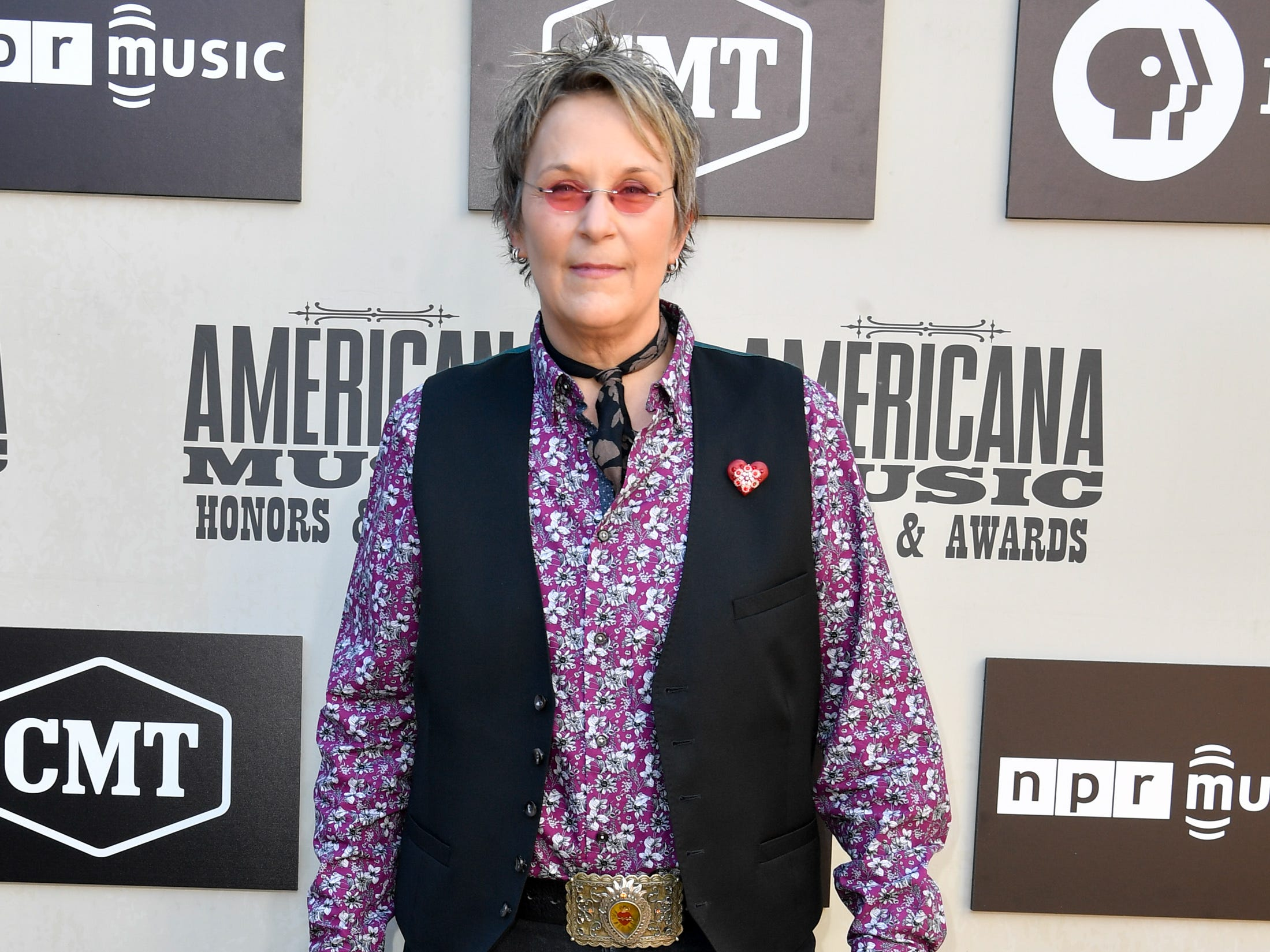 Mary Gauthier poses on the red carpet before the 2018 Americana Honors and Awards show at the Ryman Auditorium in Nashville, Tenn., Wednesday, Sept. 12, 2018.