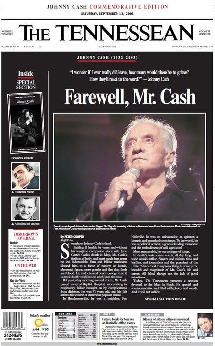 Johnny Cashs Death In Nashville Obituary