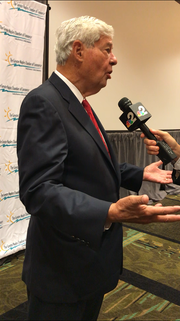Former U.S. senator and 38th governor of Florida Bob Graham speaks to the press after the Greater Naples Chamber of Commerce's Wake Up Naples Event on Wednesday, Sept. 12, 2018, at the Hilton Naples.