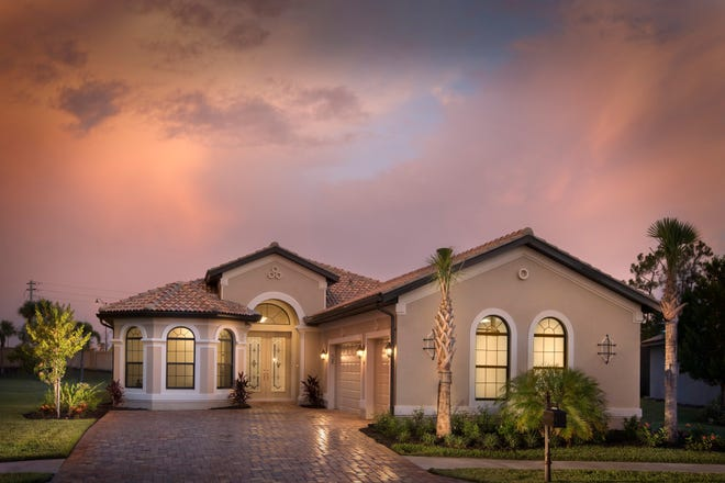 The 2,572-square-foot, move-in ready Salerno Chateau at Bonita Lakes features a master bedroom and three-car garage on an oversized home site.