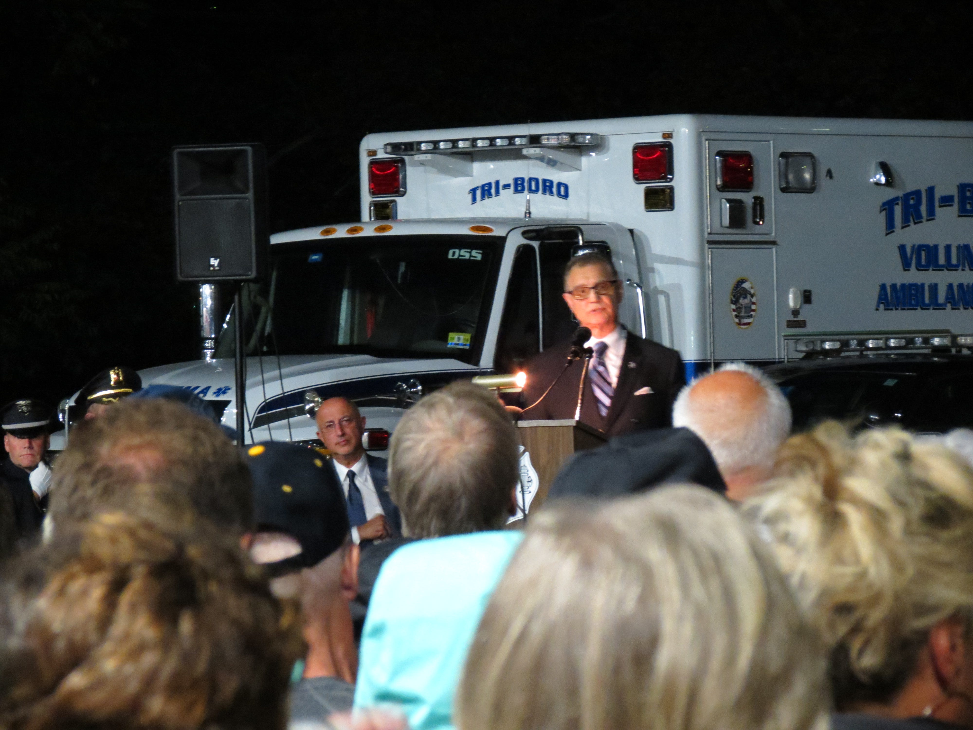 Acting Bergen County Prosecutor Dennis Calo speaks during a 9/11 ceremony at the Montvale Fire House on Tuesday, Sept. 11, 2018.