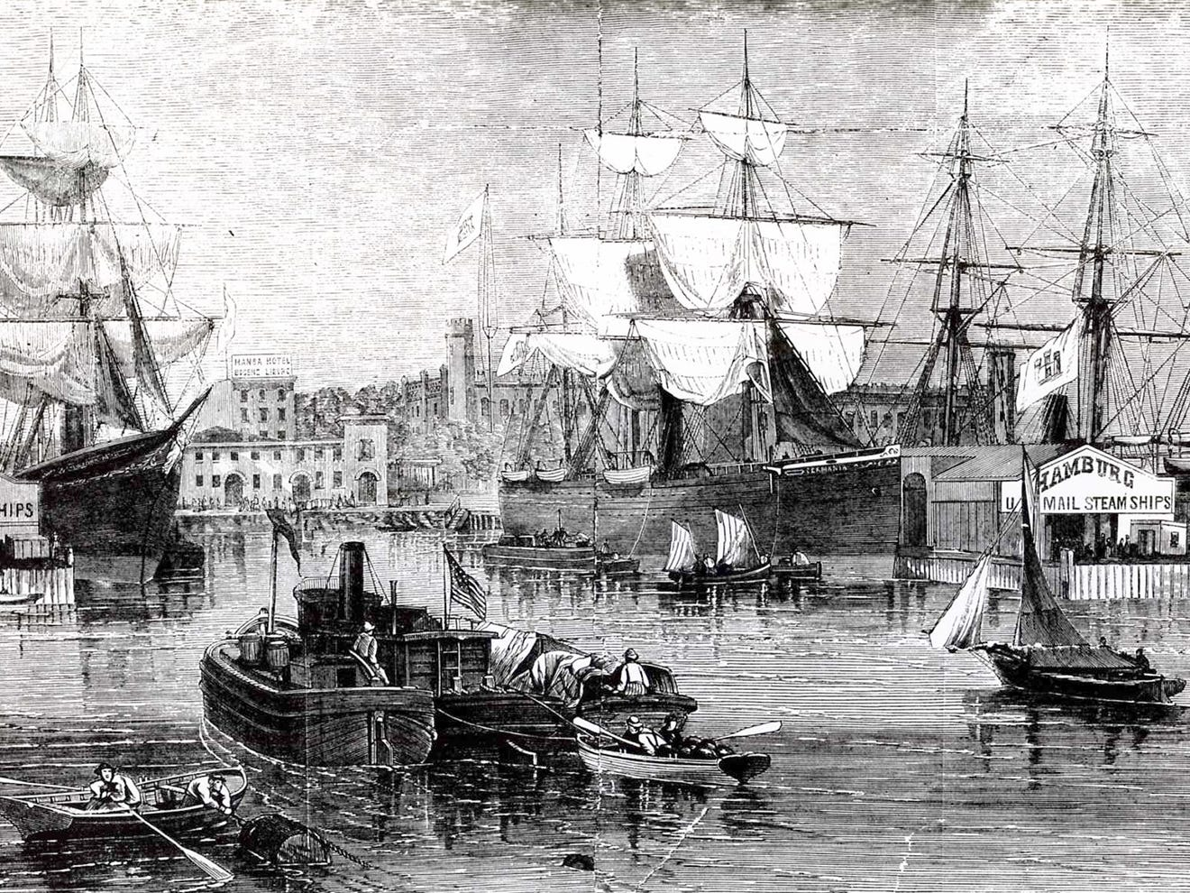 Hoboken was a busy port in 1865. This rendering shows ships at the waterfront near the North German Lloyd line at left, and the shops of the Hamburg-American Packet Company at right.
