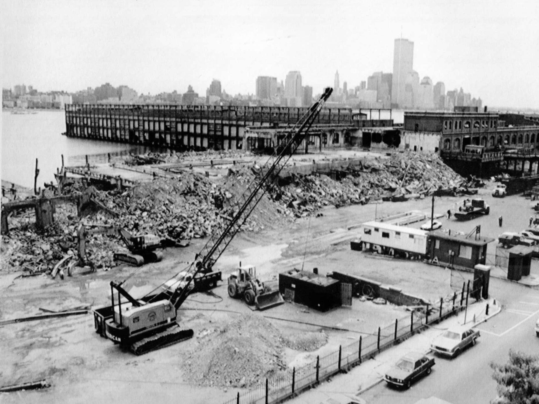 Redevelopment of the Hoboken waterfront gets underway in 1990.