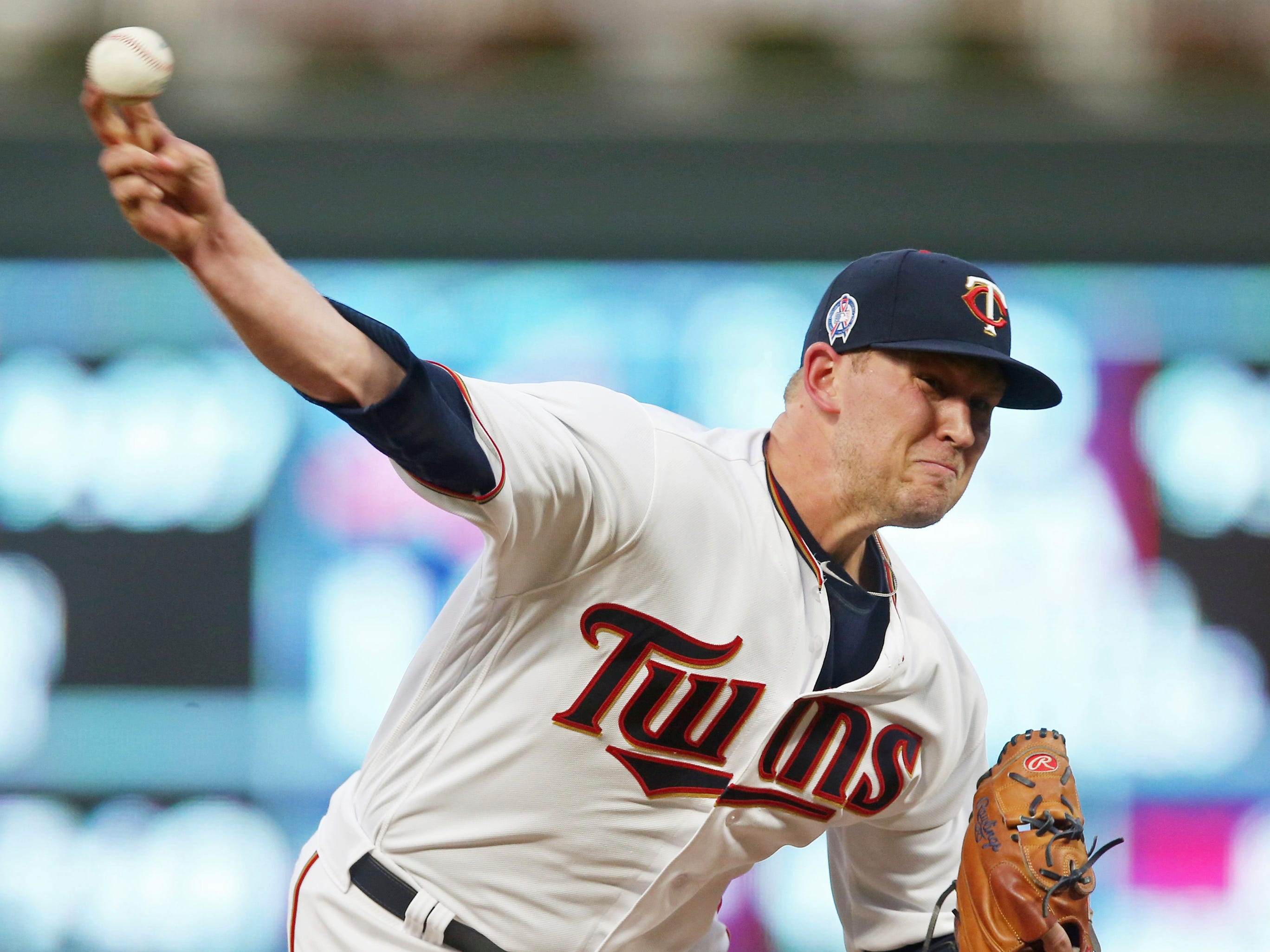 Minnesota Twins pitcher Tyler Duffey throws against the New York Yankees in the first inning of a baseball game Tuesday, Sept. 11, 2018, in Minneapolis.