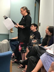 Although most municipalities limit public comment to those who are present, Amy Atkinson attempted to read into the record comments from residents who could not attend the July 26 Saddle River work session on its deer management ordinance.