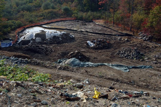 """Work area at the bottom of """"""""Sludge Hill"""""""" off of VanDunk Road and Petzold Avenue in Ringwood.  Superfund site cleanup work at the end of Peters Mine Road and on """"""""Sludge Hill"""""""" in Ringwood."""