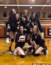 Tenafly girls volleyball seniors: top row (from left) Brigette Candler, Olivia Tarabokija, Stephanie Shin; (middle) Sabrina Sadler, Brittany Amtman; (bottom) Grace McCarthy and Maya Harel.