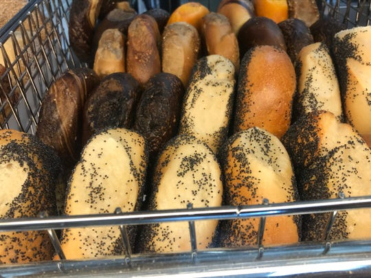 Neatly stacked rows of bagels can be found at Bagel Emporium, North Jersey's second best bagel. Go:  67 E. Ridgewood Ave., Paramus; 201-262-9778.