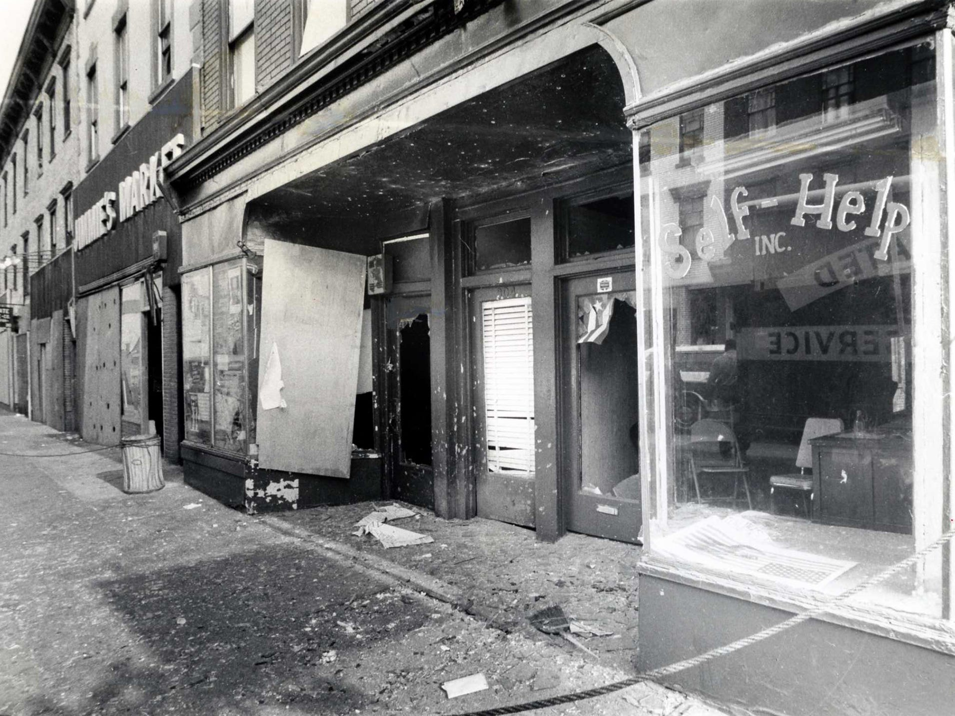 A bombed storefront in September 1971 near 1st and Willow streets.