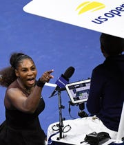Sep 8, 2018; New York, NY, USA; Serena Williams of the United States yells at chair umpire Carlos Ramos in the women's final against Naomi Osaka of Japan on day thirteen of the 2018 U.S. Open tennis tournament at USTA Billie Jean King National Tennis Center. Mandatory Credit: Danielle Parhizkaran-USA TODAY SPORTS (Danielle Parhizkaran/@danielleparhiz)