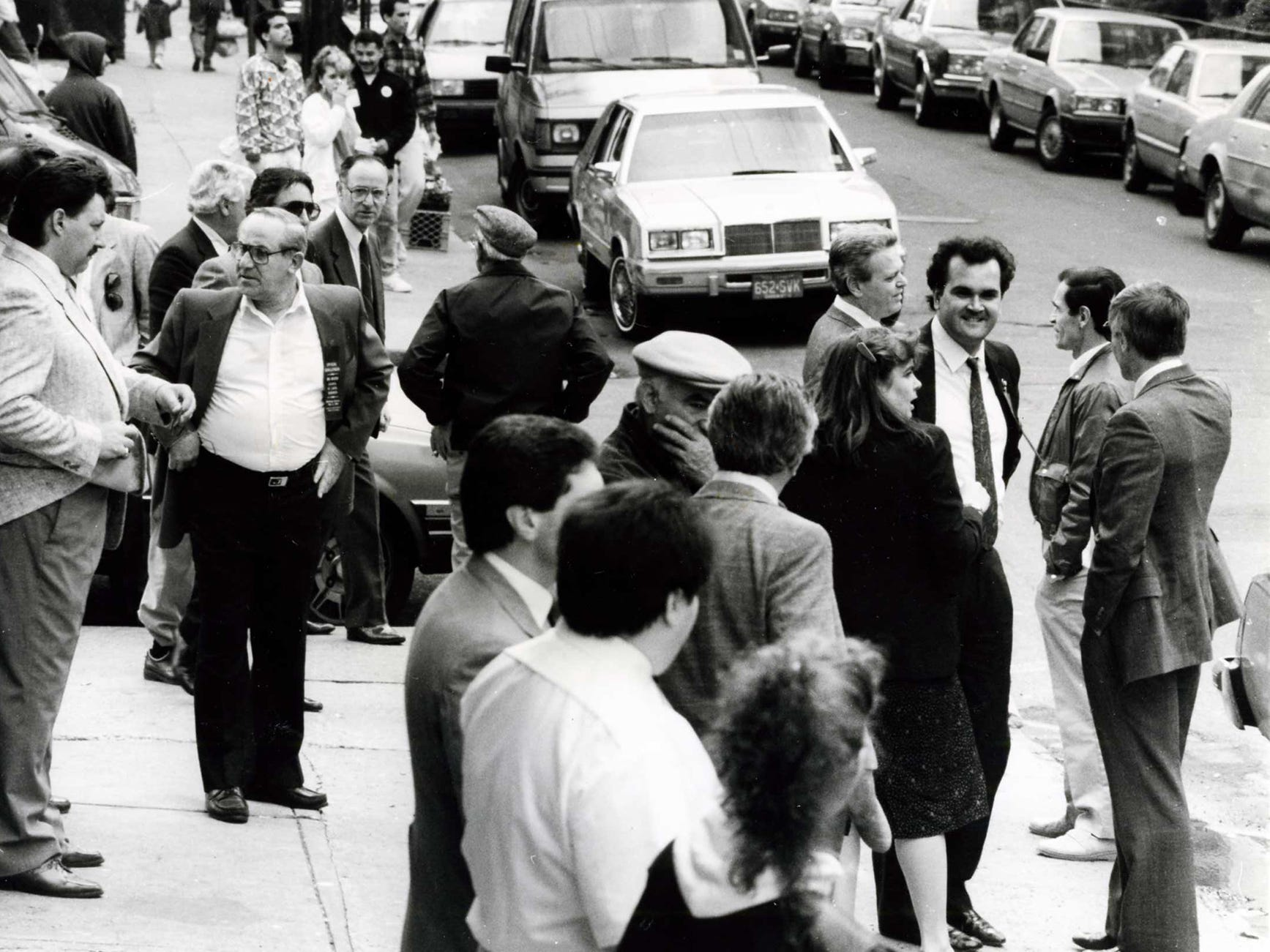 Residents gather at a polling site in May 1989 at 5th and Adams streets.