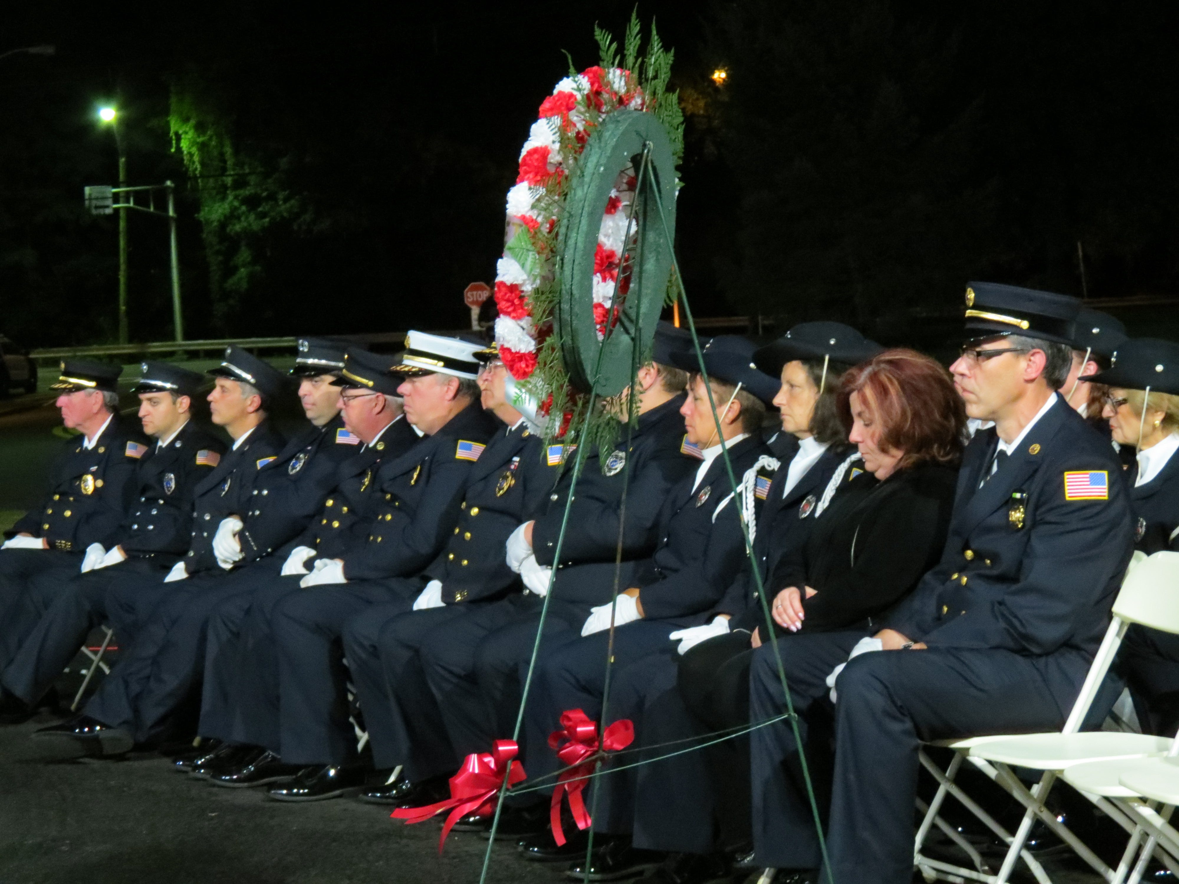 Montvale firefighters participate in a 9/11 ceremony at the firehouse on the 17th anniversary of 9/11.