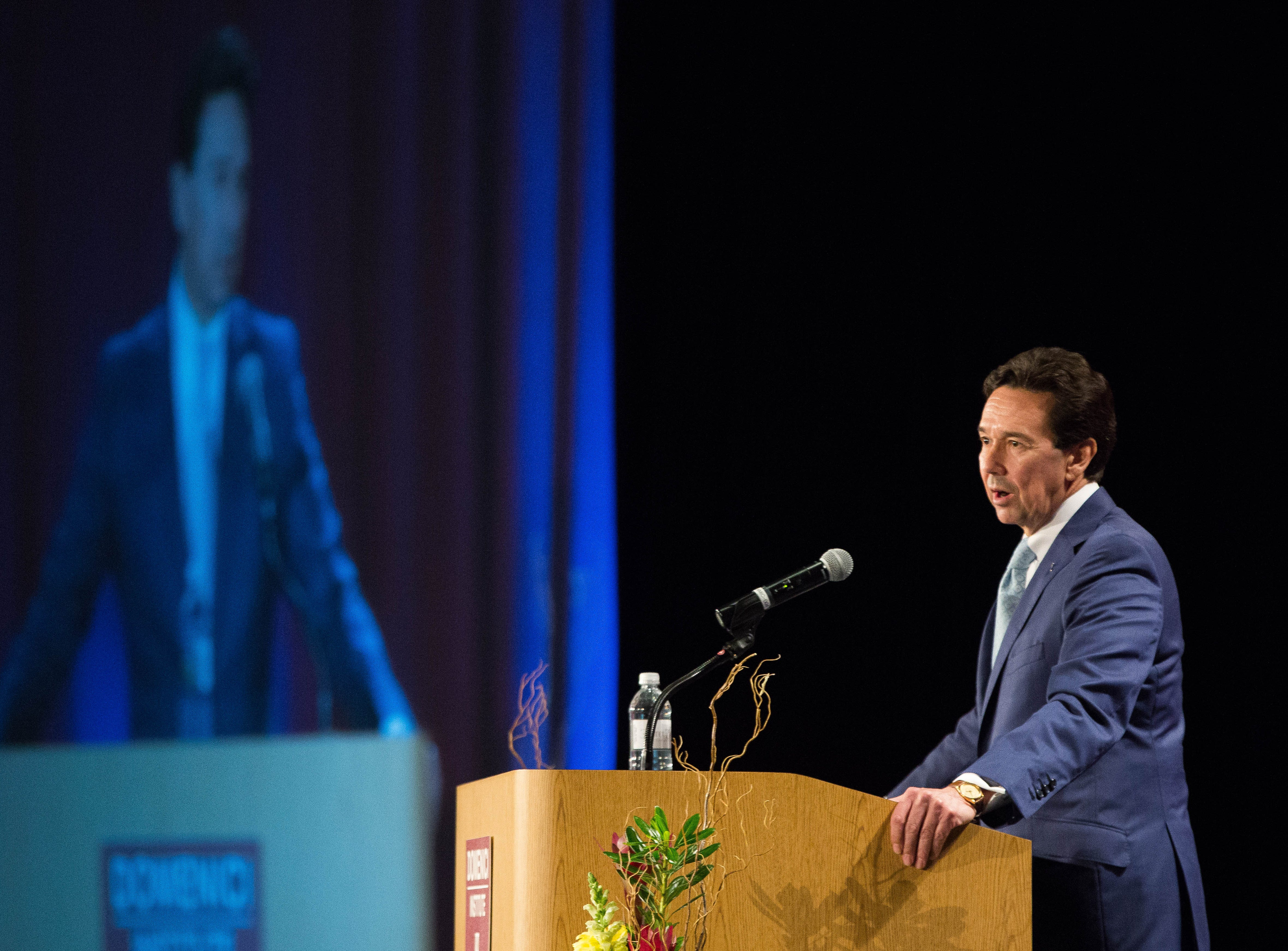 Jon Barela, chief executive officer of the Borderplex Alliance, speaks to the attendees at the 2018 Domenici Public Policy Conference, Wednesday,  Sept. 12, 2018 at the Las Cruces Convention Center.