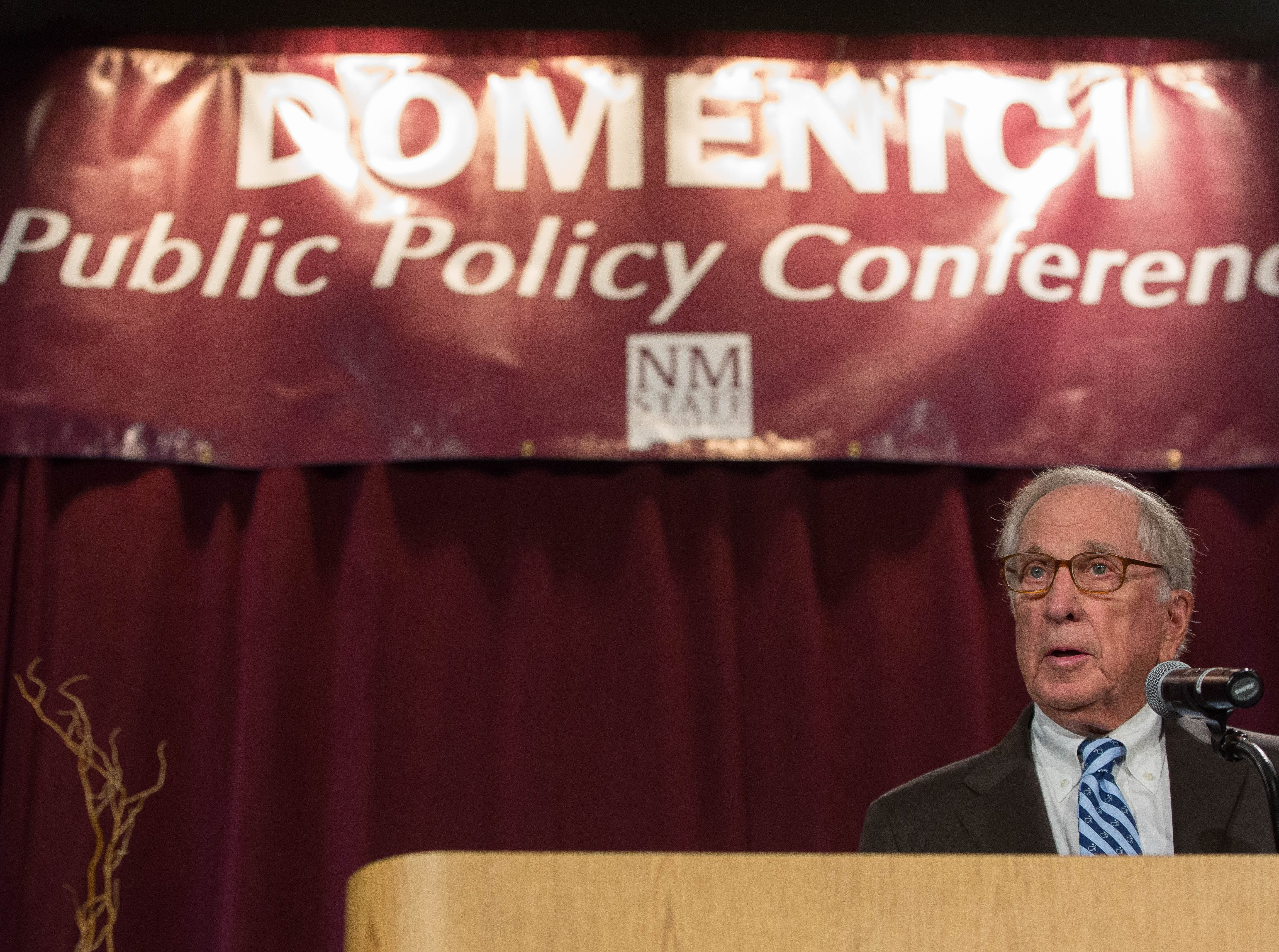 Sam Nunn, former senator from Georgia, speaks about his friend, the late Sen. Pete Domenici, during the 2018 Domenici Public Policy Conference at the Las Cruces Convention Center, Wednesday Sept. 12, 2018.