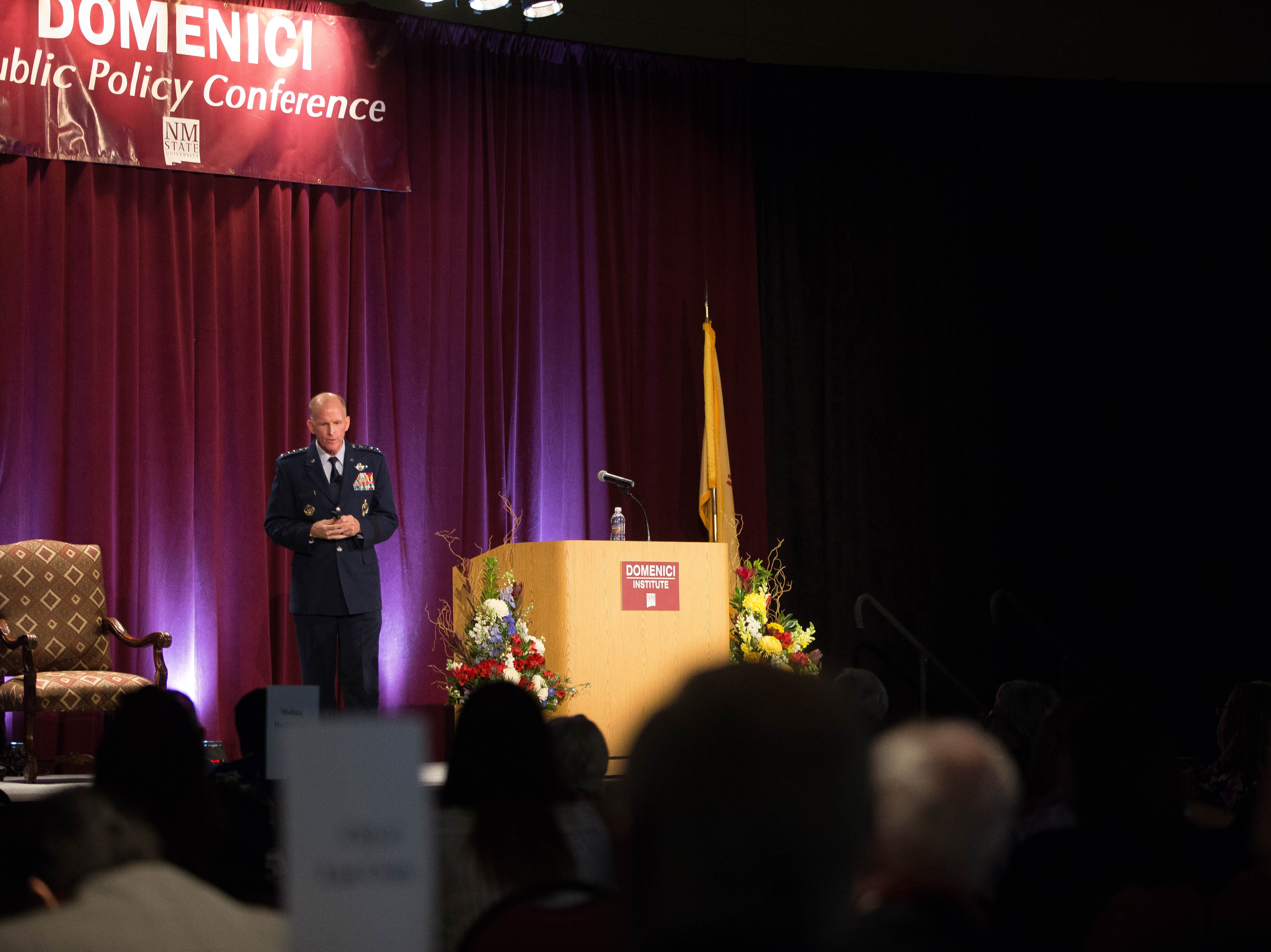 Gen. Stephen Wilson, vice chief of staff of U.S. Air Force, speaks to the attendees of the 2018 Domenici Public Policy conference at the Las Cruces Convention Center, Wednesday Sept. 12, 2018.
