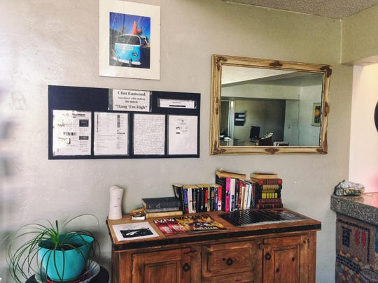 """A mirror from the set of Clint Eastwood's 1968 film, """"Hang 'Em High,"""" hangs in the Big Chile Chile Inn lobby as memorabilia. Eastwood stayed at the hotel in 1967."""