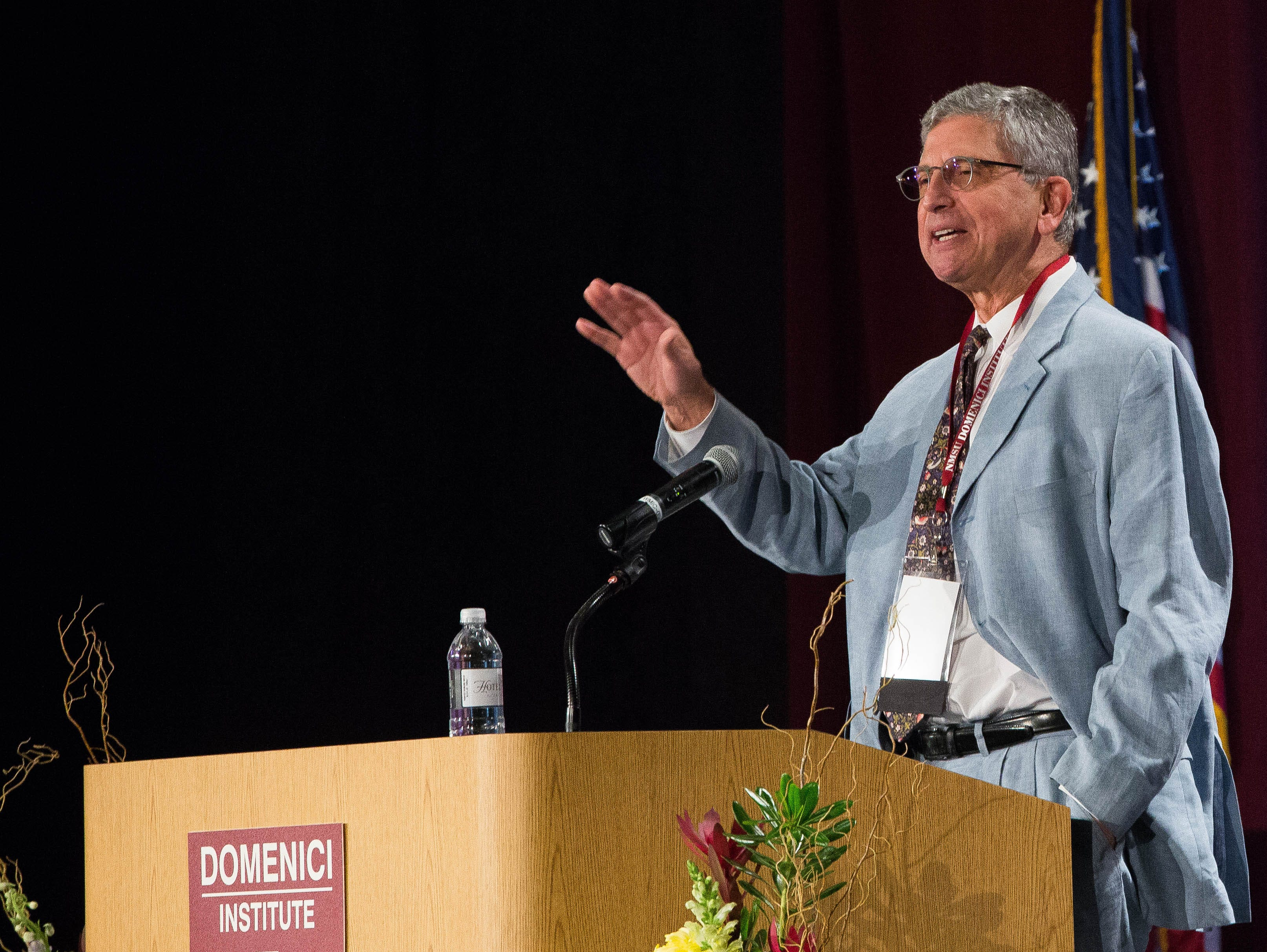 Edward Schumacher-Matos, director of the Edward R. Murrow Center, addresses disunity in the country and warned that the American experiment might not last during the first day of the 2018 Domenici Public Policy Conference Wednesday, Sept. 12, 2018 at the Las Cruces Convention Center.