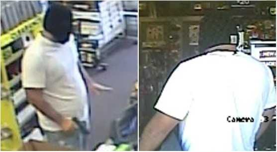 Surveillance images of an armed robbery suspect at the GameStop on Hickory Loop.