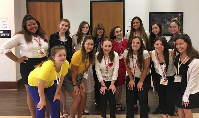 Girls who attended the American Legion Auxiliary New Mexico Girls State program at Eastern New Mexico University in Portales, N.M. in June.