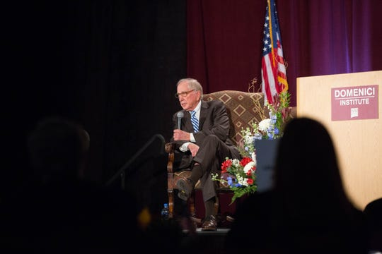 Sam Nunn, former senator from Georgia, takes questions from New Mexico college students during the  2018 Domenici Public Policy Conference at the Las Cruces Convention Center, Wednesday Sept. 12, 2018.. The students' questions dealt with a range of policy issues.
