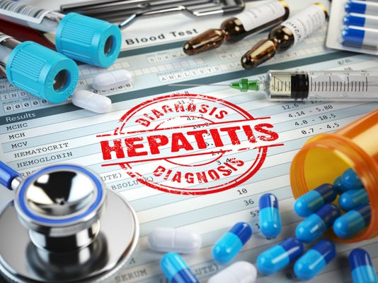 Hepatitis Disease Diagnosis Stamp Stethoscope Syringe Blood