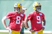 Green Bay Packers quarterback Tim Boyle (8) and quarterback DeShone Kizer (9) during practice on Wednesday, September 12, 2018 in Ashwaubenon, Wis.
