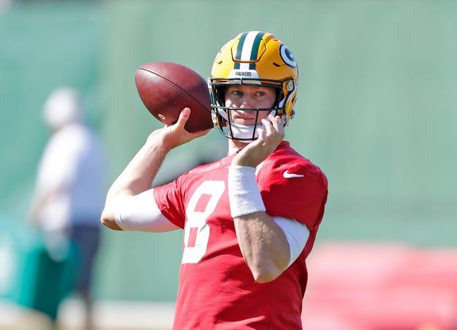 Green Bay Packers quarterback Tim Boyle (8) throws during practice on Wednesday, September 12, 2018 in Ashwaubenon, Wis.